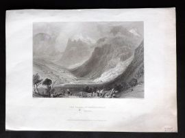 Bartlett Switzerland C1838 Antique Print. Valley of Grindelwald, Canton Bern